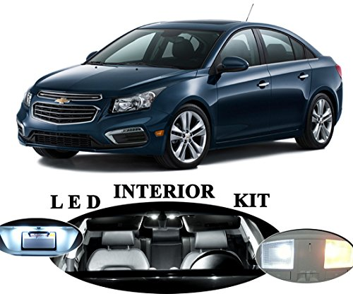 Chevrolet Chevy Cruze Xenon White LED Package Upgrade - Interior + License plate / Tag + Vanity / Sunvisor (11 pieces) (Chevy Cruze White compare prices)