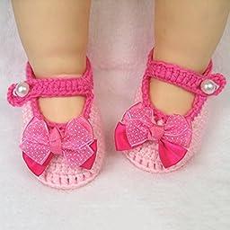Newborn Baby Infant Girls Flower Bow Tie Crochet Knit Socks Crib Shoes Prewalker 0-12 Months (Type 2)