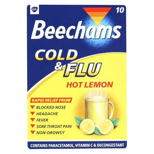 Beechams Cold & Flu Hot Lemon 10 Sachets