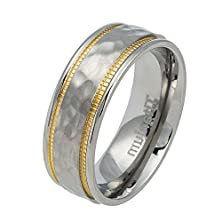 buy 7.5Mm Titanium Yellow Ip Hammered Center Milgrain Grooves Wedding Band Ring For Men Or Ladies