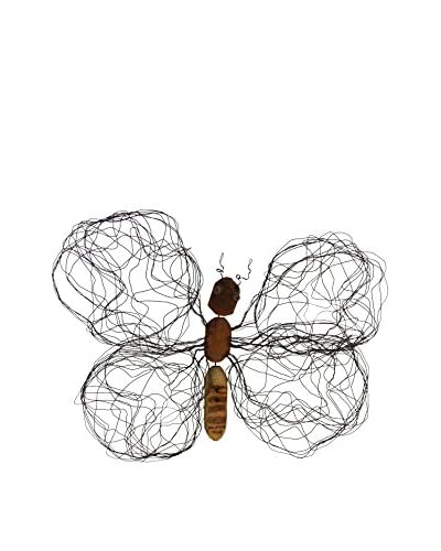 Asian Art Imports Medium Butterfly Wall Décor, Natural Wood