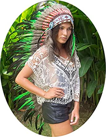 "Choose color - 50"" Indian Headdress - Native American Headdress - Real Feathers"
