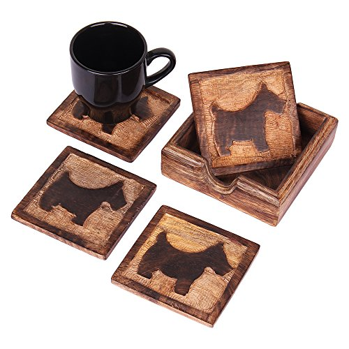 Quirky Rustic Wooden Square Coasters for Drinks Set of 4 and Holder Nursery Kids Room Furniture Theme Party Supplies Animal Lovers Gift Ideas