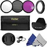 Professional Accessory Kit for CANON PowerShot SX500 IS SX510 HS Camera - Includes: Vivitar Filter Kit (UV, CPL, FLD) + 52MM Lens Adapter Ring + Tulip Flower Lens Hood + Center Pinch Lens Cap + Cap keeper Leash + 2 MagicFiber Microfiber Lens Cleaning Cloths