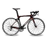 BEIOU ® 2016 700C ロードシマノ105 自転車 580011Sレーシング 自転車 T800-M40カーボンファイバーエアロフレーム 超軽量 18.3lbs CB013A-2 (マットブラック&レッド, 500mm) [並行輸入品]