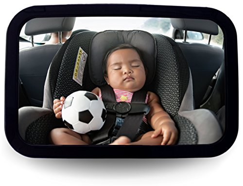 Griffin Baby - Back Seat Baby Mirror - Adjustable Baby Safety Mirror for Rear Facing Infant Car Seats Lightweight Heavy-Duty Plastic Construction Extra Large View Big and Clear Convex Shatterproof Mirror - Lifetime Warranty - Every New Mother Needs One - [Add This To Your Baby Registry]