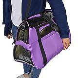 TravelDog Pet Carrier Mesh Ventilation - Soft Washable Fleece Bed - Cat or Dog Tote Travel Bag - Large (Purple)