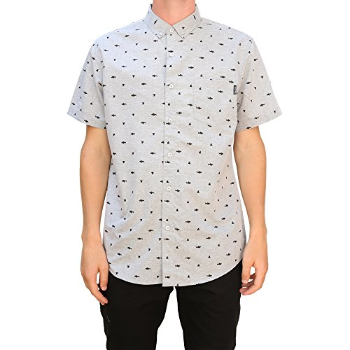 Molokai Mens Printed Short Sleeve Button Down Hawaiian Shirt (Large, Grey Shark)