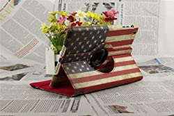 Noarks iPad Air 360 Degree PU Leather Vintage American USA Flag Style Smart Cover for Apple iPad Air