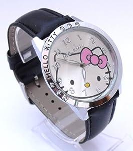 0f861a3c67cb87 Buy Ladies Jumbo Black Hello Kitty Watch. 6 Sparkling Rocks. Large 4cm Case.