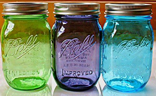 Complete 100th Anniversary Set of THREE - American Heritage Vintage Collection Ball Mason Jars (16 oz) Blue,Green,Purple - (one of each color included) (Purple Heritage Canning Jars compare prices)