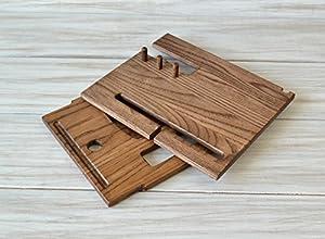 Wood Phone Docking Station, Ash Desk Organizer, Tablet Holder, Key Hooks, Coin, Wallet, Watch Stand, Handmade Men Graduation Gift, Husband Anniversary (Color: Walnut wood)