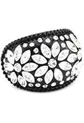 """Betsey Johnson """"Iconic Jet"""" Crystal Flower Stretch Ring, Size 7.5"""