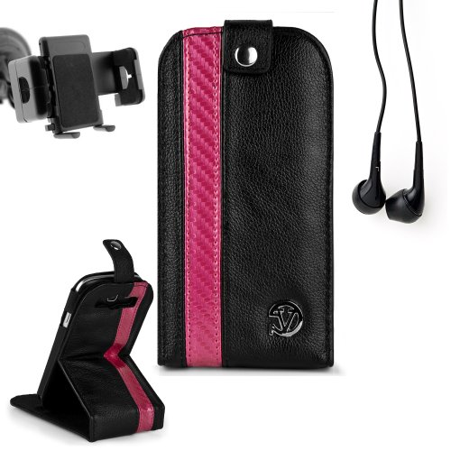 Reinforced Samsung Galaxy S3 I9300 Leather Case Cover With Stand - ( Vangoddy Repetto Pink Carbon Fiber Design ) + In Car Samsung Galaxy S3 Vehicle Mount + Black Earbud Earphones