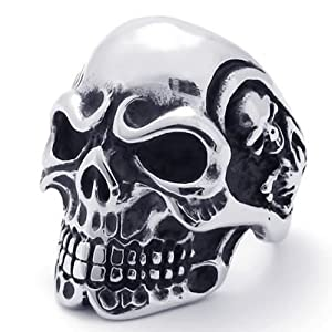 KONOV Jewelry Vintage Gothic Skull Biker Stainless Steel Mens Ring, Silver (Available in Sizes 8 - 15) - Size 11 (with Gift Bag)