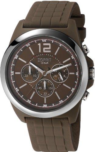 Esprit  Hayward - Reloj de cuarzo para hombre, con correa de goma, color marrón