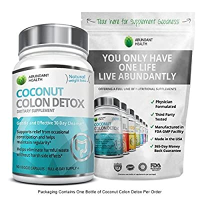 Coconut Colon Detox - 90 Veggie Capsules - 30 day Cleanse for Weight Loss support - Gentle Effective Relief - No Harsh Side Effects - Made in the USA
