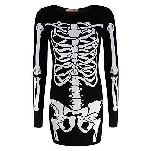 Womens Scheletro Pipistrello Halloween Party Body Mini Abito Legging Felpa Plus Skeleton Mini Dress - Bones S/M