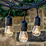Brightech™ Ambience Pro - Outdoor Commercial String Lights with 11S14 Bulbs - 48 Feet String Light with 15 Heavy Duty Molded Rubber Light Sockets - Create a Unique Retro Look and Feel - Includes Hanging Loops - UL Listed for Indoor and Outdoor Use - Black
