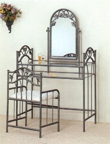 Nickel Bedroom Vanity Table Set Make Up Mirror Chair
