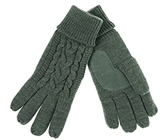 ISO by Isotoner Women's Triple Cable Knit Thinsulate Fleece Lined Gloves (Heather Grey)