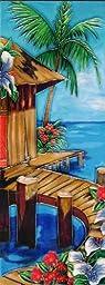 Continental Art Center KD-055 6 by 16-Inch Tropical Beach House Ceramic Art Tile