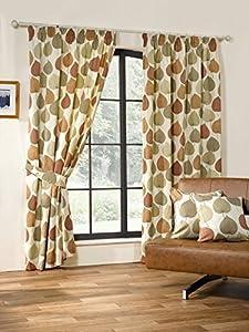 Autumn Leaf Terracotta 90x54 Cotton Blend Lined Pencil Pleat Curtains #doowelgni
