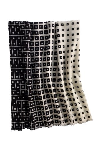 Fair Trade Wool Optique Shawl (Black/White)