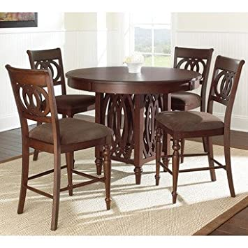 Steve Silver Dolly 5 Piece Counter Height Table Set in Medium Brown Cherry