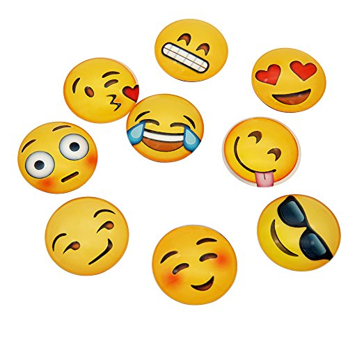 Poproo Glass Emoji Magnets Set of 9, Cute Refrigerator Magnet for Magnetic Whiteboards Dry Erase Boards and Fridge (Emoji Fridge Magnets compare prices)