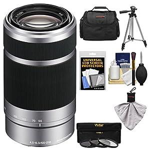 Sony Alpha E-Mount 55-210mm f/4.5-6.3 OSS Zoom Lens with 3 UV/FLD/PL Filters + Case + Tripod Kit for A7, A7R, A7S, A3000, A5000, A5100, A6000 Cameras