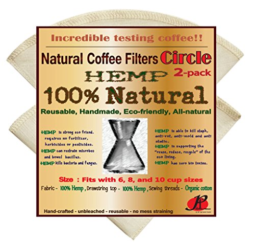 Reusable Coffee Filters for Chemex ,No Harmful Chemical ,All Natural ,2 Pack of P&F Circle Shaped Filters (Reusable Chemex Coffee Filter compare prices)