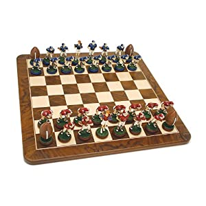 Football Chess Set - Handpainted Pieces & Walnut Root Board 19 in.
