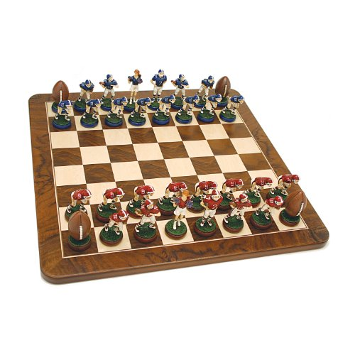 Football Chess Set - Handpainted Pieces & Walnut Root Board 19 in. at Amazon.com
