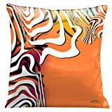 Lama Kasso Contempo Fiesta 2, White Graphics on an Orange Satin 18-Inch Square Pillow, Design on Both Sides