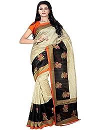 Saree (Zypara Beautiful Print Saree With Fancy Blouse)