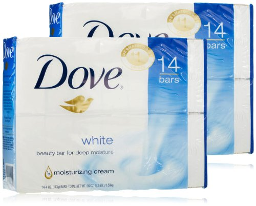Dove White Beauty Bar, 14 Count (Pack of 2)