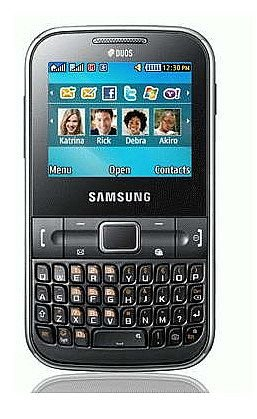 Samsung C3222 Ch@t Dual SIM Unlocked GSM Phone with QWERTY Keypad, 1.3 MP Camera, FM Radio and Bluetooth - Unlocked Phone - No Warranty - Black