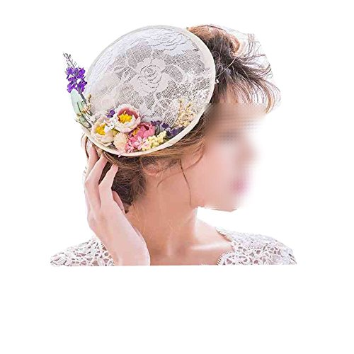 Handmade Hair Clip Top Hat Feather Veil Wedding Bridal Party Church Headwear for Women (03) (Mini Steampunk Pirate Hat With Gear)