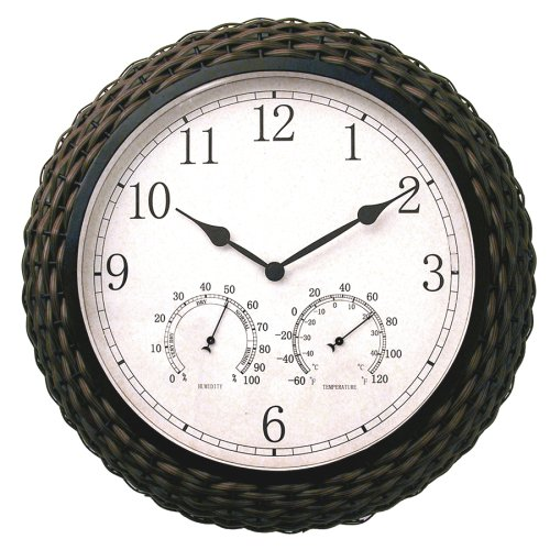 "Amazon.com - Springfield 15"" Synthetic Wicker Clock with Thermometer"