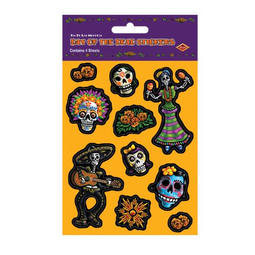 Beistle Day of The Dead Stickers, 4 Sheets - 1