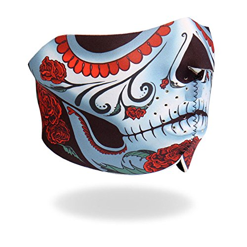 Hot Leathers Bikers Full Protection HALF CALAVERA NEOPRENE FACE MASK, with Velcro Back Closure (Hot Leathers Face Mask compare prices)