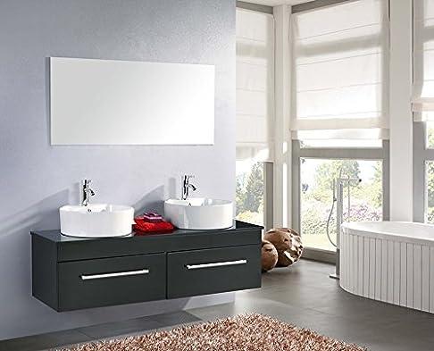 Mobile bagno CARDELLINO arredo bagno arredobagno 150 cm nero laccato mobile + lavandini + specchio + 2 miscelatori completo moderno IL PIU VENDUTO