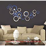 Diwali Decor - Acrylic Mirror 3D Wall Décor Stickers For Home And Office - Large Size , Dark Blue + Silver Mirror...