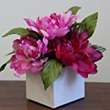 Cerise Peonies in Square White Pot - 19 cm - Artificial Flowers and Plants for Indoor Decoration