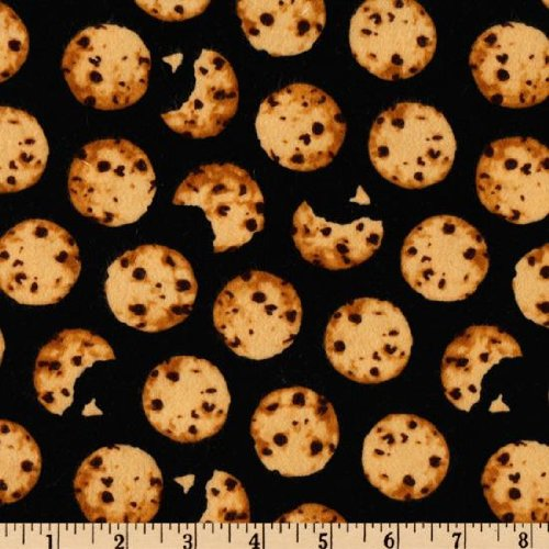 Amazon.com: 43'' Wide Flannel Chocolate Chip Cookies Black Fabric By