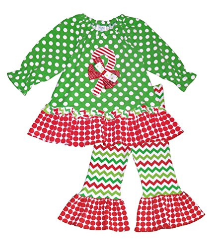 Peaches n Cream Little Girls' Green Red Polka Dot CANDY CANE Applique 2pc outfit