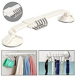 KM Bathroom/Kitchen 5 Sliding Hook Suction Strip, Max Load 2 Kg. (works best on tiles and glass surface)