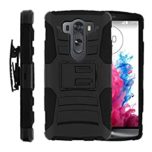 Advanced Layer Rugged Heavy Duty Cover for [LG V10 Holster Case| G4 Pro Clip Case][Clip Armor] With Kickstand & Holster Shell by Miniturtle - Black