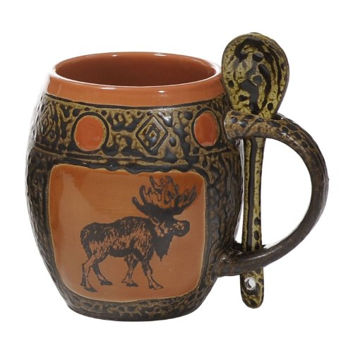 Moose Coffee Mug With Spoon In Coral Glaze